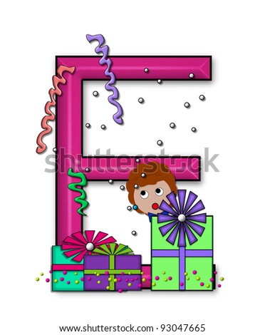 """E, in the alphabet set """"Birthday Letters"""", is surrounded by colorfully wrapped presents complete with bows.  Woman hides behind presents and peeks out pretending surprise. - stock photo"""