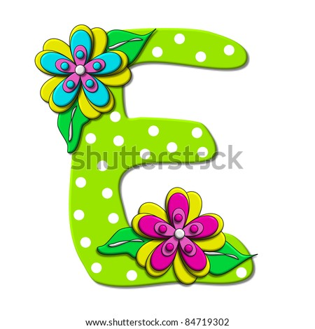 """E, in the alphabet set """"Bright Floral"""", is decorated with three layer modernistic flowers in bright fun colors.  Letters are brilliant green. - stock photo"""