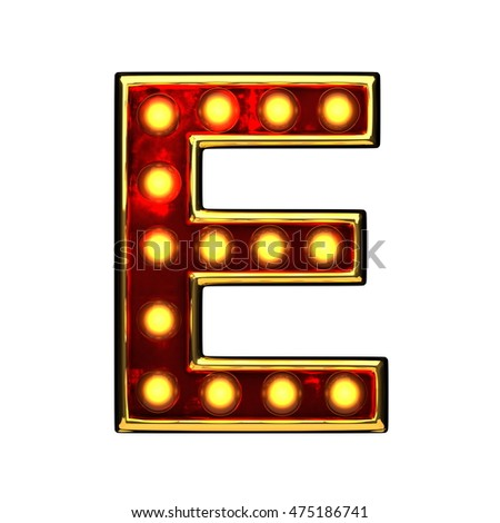 e isolated golden letter with lights on white. 3d illustration