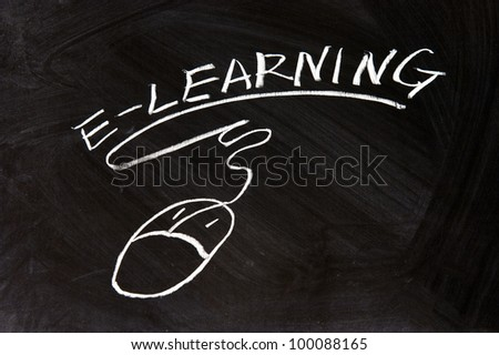 E-Learning and a mouse sign drawn on chalkboard - stock photo