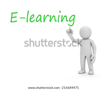 E-learning and man - stock photo