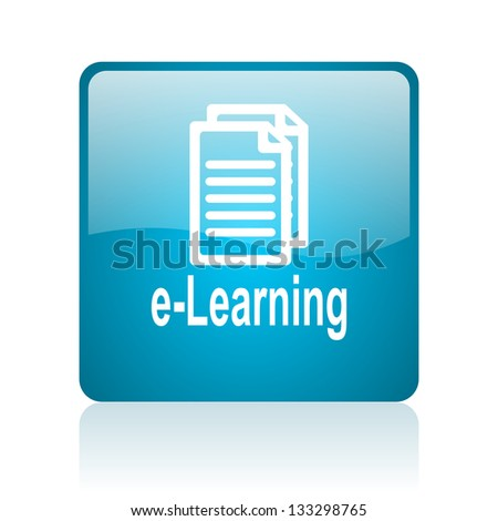 e-learning blue square web glossy icon - stock photo