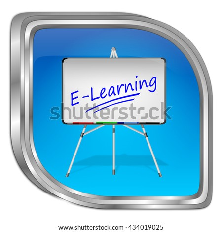 E-Learning Button - 3D illustration