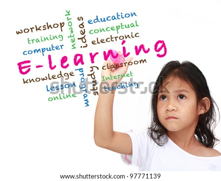 E-learning concept and other related words, asia little girl write on white board - stock photo