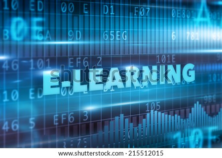 E-learning concept blue text blue background - stock photo