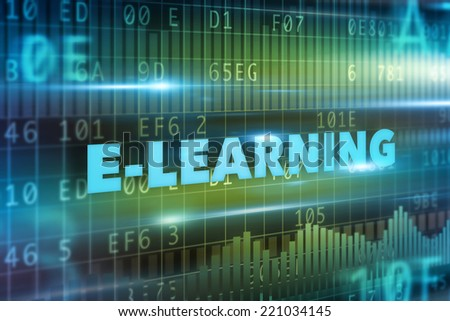 E-learning concept blue text green background - stock photo