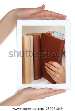 E-learning concept.  Digital library - books inside tablet - stock photo