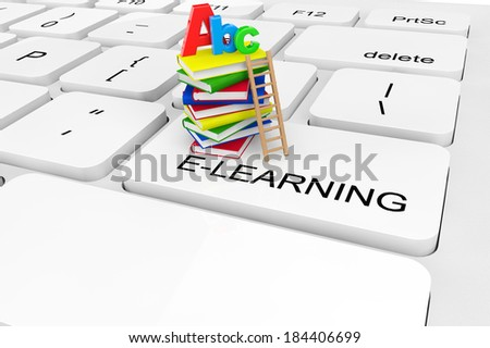 E-Learning concept. Extreme closeup Books and ABC sign on a keyboard - stock photo