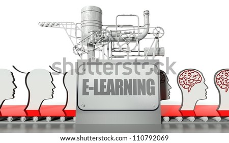 E-learning concept, faces profiles with brains and machine - stock photo