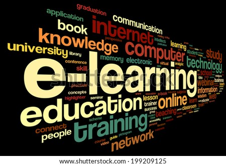 E-learning concept in word tag cloud on black - stock photo