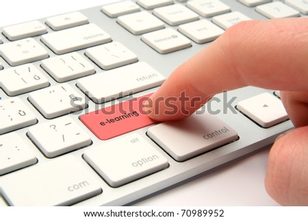 E-learning concept - keyboard with e-learning button - stock photo