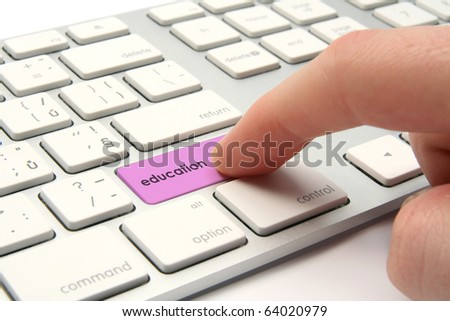 E-learning concept - keyboard with education button - stock photo