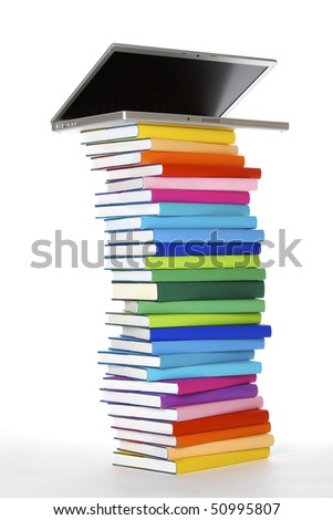 E-learning concept - laptop on top of stack of colorful real books on white background, side view.