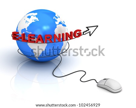 E-learning concept on white background
