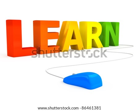 E-learning concept over white background. computer generated image - stock photo