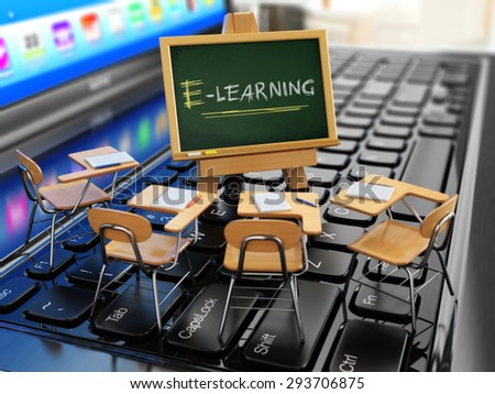 E-learning concept. Schooldesk and chalkboard on the laptop keyboard. 3d - stock photo