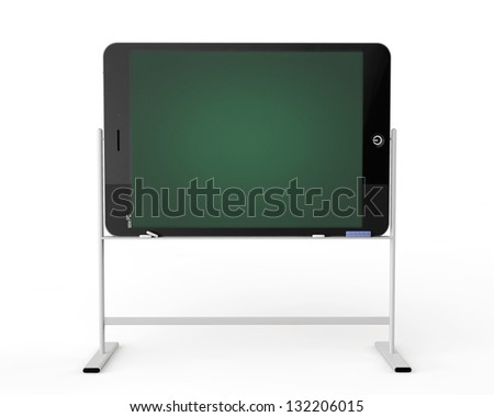 E-learning concept. Tablet PC as blackboard stand on a white background - stock photo