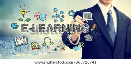 E-Learning concept with businessman above the city - stock photo