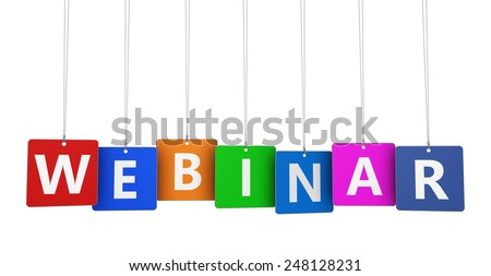 E-learning concept with webinar sign and text on colorful hanged tags for online workshop and educational business isolated on white background. - stock photo