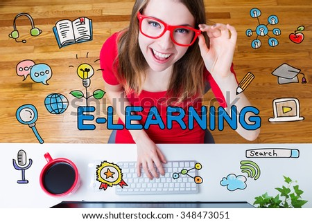 E-Learning concept with young woman with red glasses in her home office