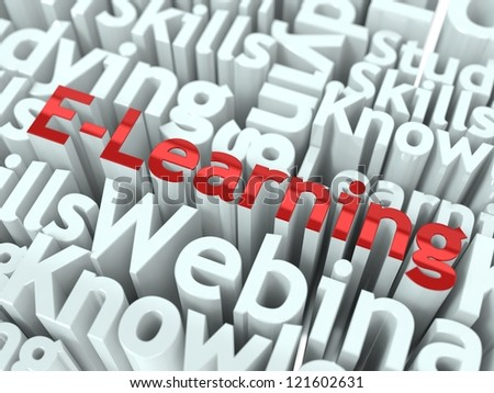 E-learning Conceptual Design. Online learning background. - stock photo