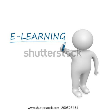 E-learning  drawn by a white man
