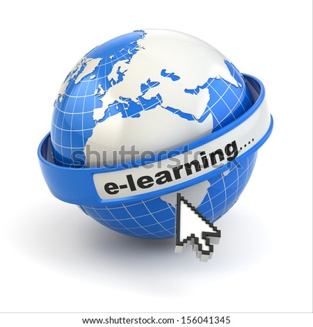 E-learning. Earth and mouse cursor on white background. 3d - stock photo