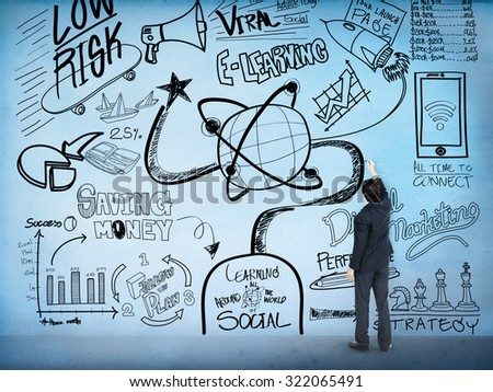 E-learning Education Sketch Drawing Doodle Concept - stock photo