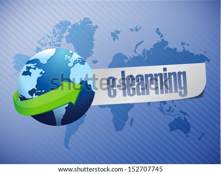e learning globe concept illustration design over a world map background - stock photo