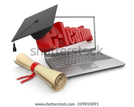 E-learning. Laptop, diploma and mortar board. 3d - stock photo