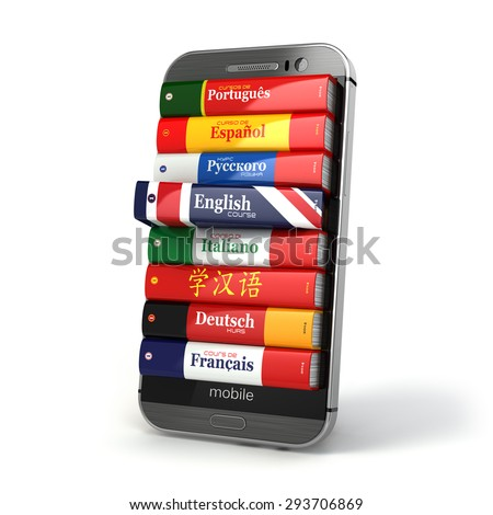 E-learning. Mobile dictionary. Learning languages online. 3d - stock photo