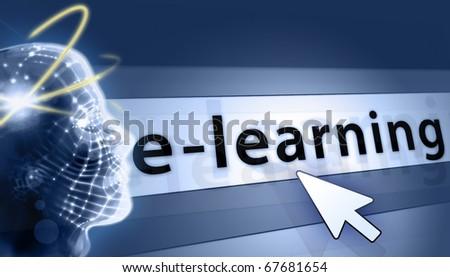 e-learning modern baner - stock photo