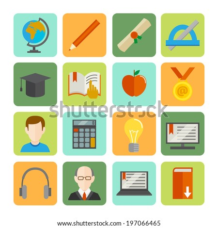 E-learning online learning knowledge and experience flat icons set isolated  illustration - stock photo