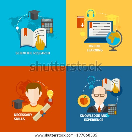E-learning scientific research knowledge and experience flat icons set isolated  illustration - stock photo