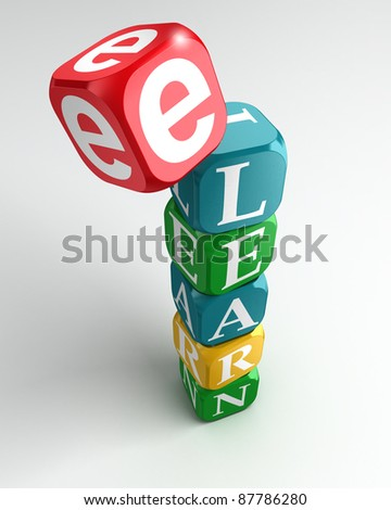 e learning sign 3d colorful buzzword tower on white background - stock photo