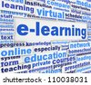 E-learning slogan poster conceptual design. Online learning message background - stock photo