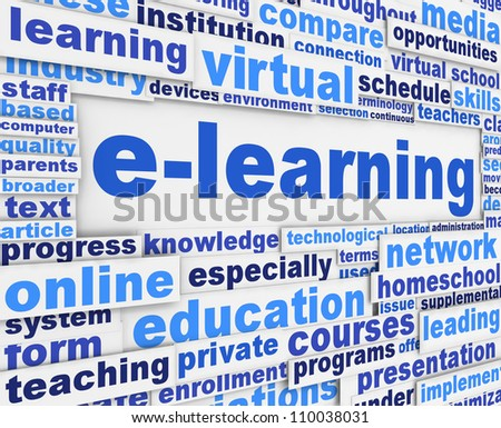 E-learning slogan poster conceptual design. Online learning message background