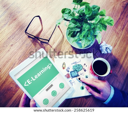 E-Learning Student Study Online SEO Concept - stock photo