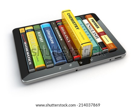 E-learning.  Tablet pc and textbooks. Education online. 3d - stock photo