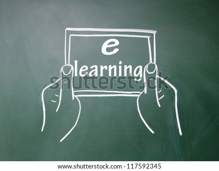 e-learning title and Tablet PC - stock photo