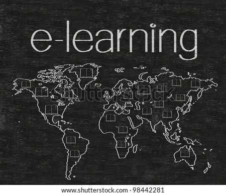 e learning with world map written on blackboard background high resolution