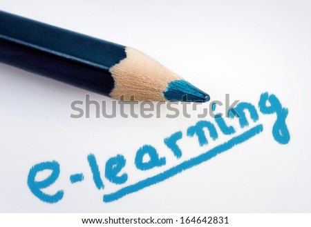 E-learning word on grey background - stock photo