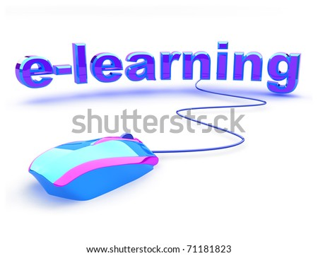 E learning word with beautiful modern computer mouse. Concept of distance learning. - stock photo