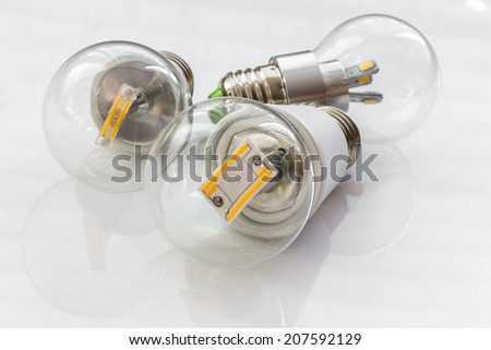 E27 LED bulbs with various light-emitting chips in transparent glass bulb