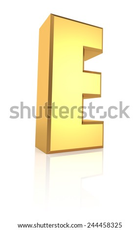 E letter. Gold metal letter on reflective floor. White background. 3d render - stock photo