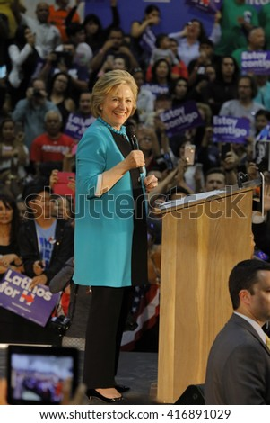 E LOS ANGELES COLLEGE, MONTEREY PARK, CA - MAY 5, 2016 - Cinco de Mayo, Secretary State Hillary Clinton Addresses Mostly Latino Presidential R