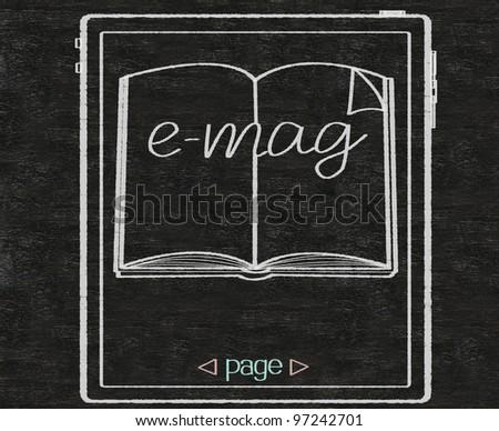 e magazine or e book written on blackboard background - stock photo