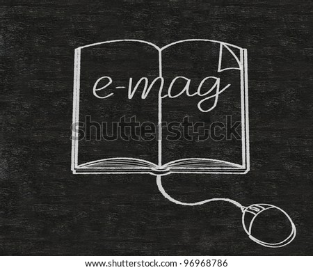 e magazine written on backboard background - stock photo