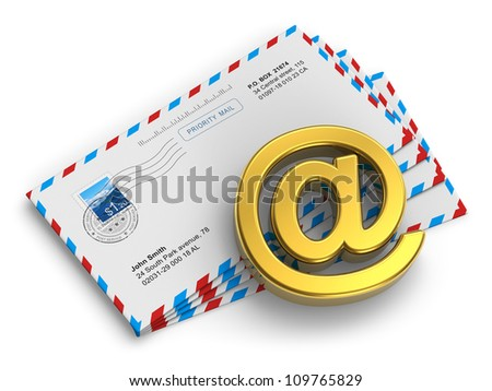 "E-mail and internet messaging concept: group of post mail envelopes and golden ""at"" symbol isolated on white background - stock photo"