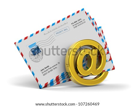 E-mail and internet messaging concept: group of post mail envelopes and golden email symbol isolated on white background